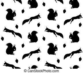modèle, vecteur, silhouette, écureuil, seamless