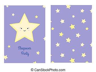 """modèle, vecteur, """"sleepover, stars., dessin animé, étoile, illustration, seamless, sourire, inscription, party"""""""