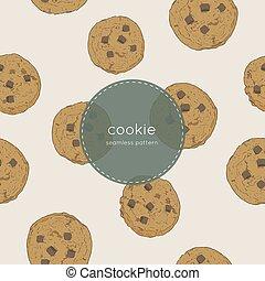 modèle, vector., cookie., fragment chocolat, seamless