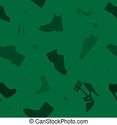 modèle, vert, chaussures, seamless