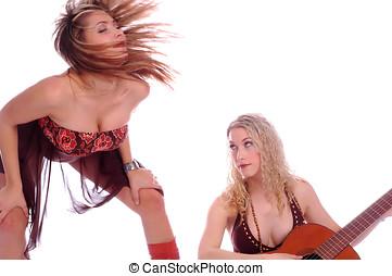 modèles, à, guitare, danse