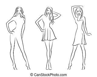 modèles, élégant, mode, trois