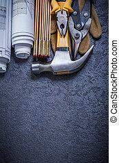 modèles, bois, mètre, acier, coupeur, pinces, gant...