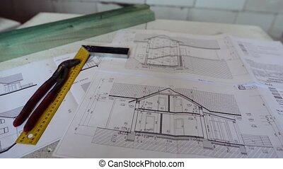 modèles, carrée, règle, site., construction, pinces