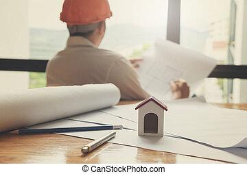modèles, fonctionnement, concept, maison, effet, architectes, fond, architecte, vendange, modèle, ingénieur