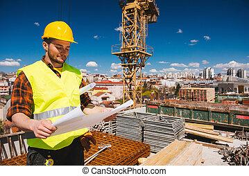 modèles, ouvrier construction