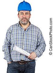 modèles, ouvrier construction, tenue
