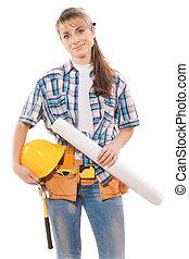 modèles, ouvrier, femme, tenue
