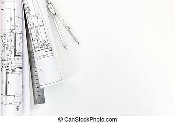 modèles, plans, architecte, lieu travail, architectural, mesure, outils, rouleaux