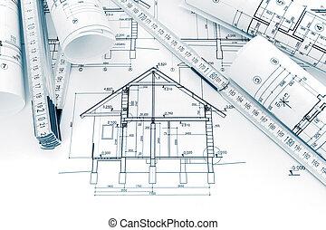 modèles, plans, technique, maison, rouleaux, dessins, rénovation