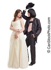 modèles, procès, élégant, wedding., nuptial, lesbienne