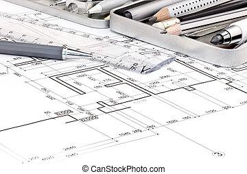 modèles, stylos, arrière-plans, autre, règle, outils, dessin