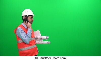 modèles, téléphone, écran, ouvrier, cellule, conversation, arrière-plan vert, ingénieur