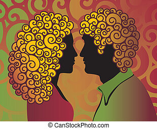 Retro-style illustration of a hip young couple with curly hair.
