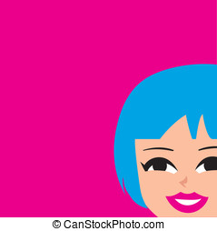 Mod Girl Graphic  - Mod retro girl with blue hair.