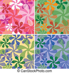 Retro seamless pattern in four colorways.