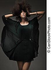 mod, stil, ateljé fotograferade, av, a, ung kvinna