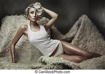 mod, stil, foto, av, a, ung, blond, skönhet