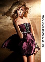mod, stil, foto, av, a, ung dam