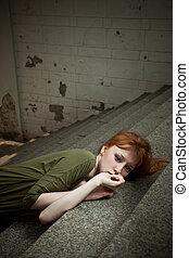 mod, stil, foto, av, a, vacker, redhead, kvinna