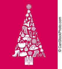 moda, árvore, natal