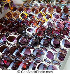 moda, óculos de sol, filas, em, loja ao ar livre, exposição
