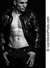 moda, -, abdomen, hombre, sexy, agradable, guapo