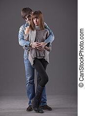 moda, abraçar, par