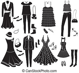 moda, accessori, vettore, disegno, weman, vestiti