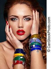 moda alta, look.glamor, closeup, retrato, de, bonito,...