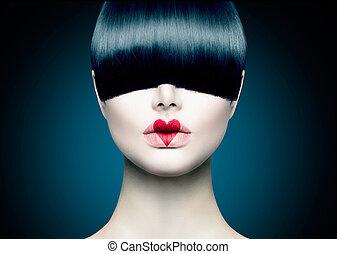 moda alta, modelo, menina, retrato, com, trendy, franja