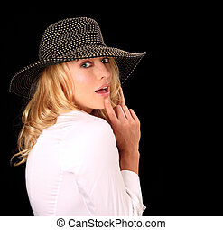 moda alta, mulher, com, chapéu