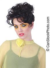 moda alta, mulher, com, olhos penetrantes