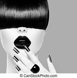 moda alta, preto branco, modelo, menina, retrato