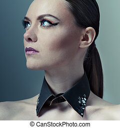 moda alta, retrato de mujer
