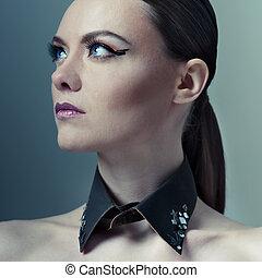 moda alta, retrato mulher