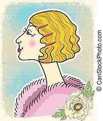moda, antigas, vindima, woman.vector, ilustração, cartão