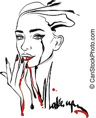 moda, arte de línea, ilustración