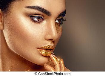 moda, arte, dorato, pelle, faccia donna, ritratto, closeup