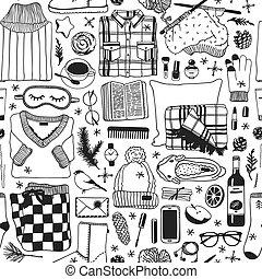 moda, arte, máscara, sono, tinta, inverno, work., padrão, ...