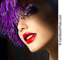 moda, arte, niña, retrato, con, violeta, hair., peinado