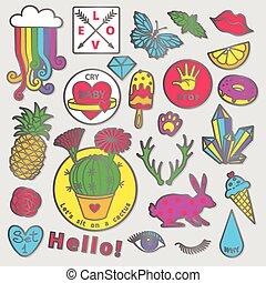 moda, arte, sketch., tendência, doodle, modernos, estouro, caricatura, 80s-90s, jogo, cômico, emblema, style., elementos