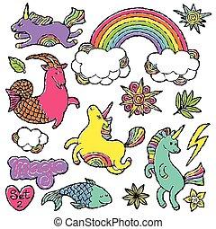 moda, arte, sketch., tendência, doodle, modernos, estouro, remendo, 80s-90s, jogo, caricatura, cômico, emblema, style., elementos