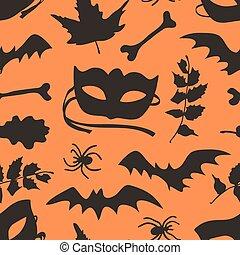 moda, arte, work., experiência., pattern., aranha, morcego, dia das bruxas, seamless, folhas, outono, máscara, vetorial, ramo, set:, mão, tinta, real, desenhado, criativo, osso