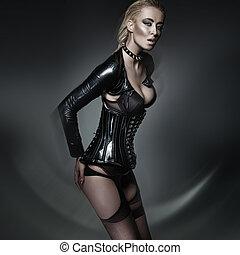 moda atira, de, jovem, excitado, mulher, em, modernos, langerie