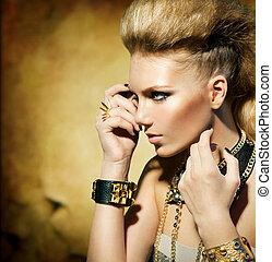 moda, balancim, estilo, modelo, menina, portrait., sepia toned