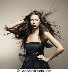 moda, ballo, fluente, giovane, lungo, donna, hair., ritratto