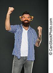 moda, beard., brincalhão, hipster, partido., engraçado, só, mind., extravagante, partido, desfrutando, desgastar, barbudo, glasses., acessório, entretendo, homem, himself., divertimento, sujeito, meu, óculos