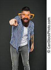 moda, beard., brincalhão, hipster, partido., engraçado, só, mind., extravagante, partido, desfrutando, desgastar, barbudo, mesmo, glasses., entretendo, homem, accessory., divertimento, sujeito, meu, óculos