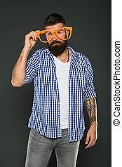 moda, beard., brincalhão, partido., engraçado, só, mind., hipster, partido, desfrutando, desgastar, barbudo, extravagante, glasses., sujeito, homem, himself., accessory., divertimento, entretendo, meu, óculos